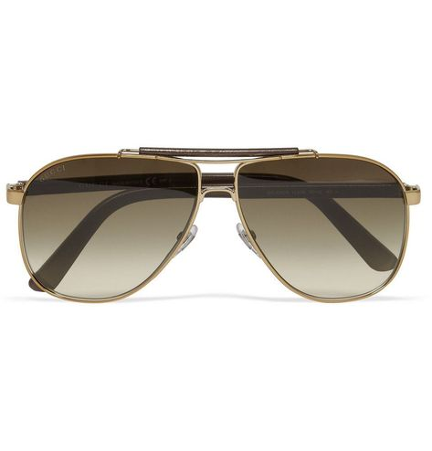 Gucci Leather and Metal Aviator Sunglasses | MR PORTER