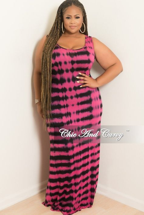 Plus Size Sleeveless Maxi Dress Hot Pink and Black Stripe ...