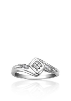 Co X 005 CTW SILVER QUAD PROMISE RING SIZE 70