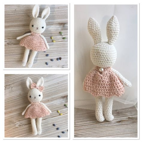 Lovely amigurumi animal bunny girl with summer dress - hand crochet soft cuddly toy - perfect soft cuddly toy for your child. Colors: the main color of the bunny is natural-white, but if you want your personal color, contact me, there is a lot of choice. ***This is MADE-TO-ORDER.