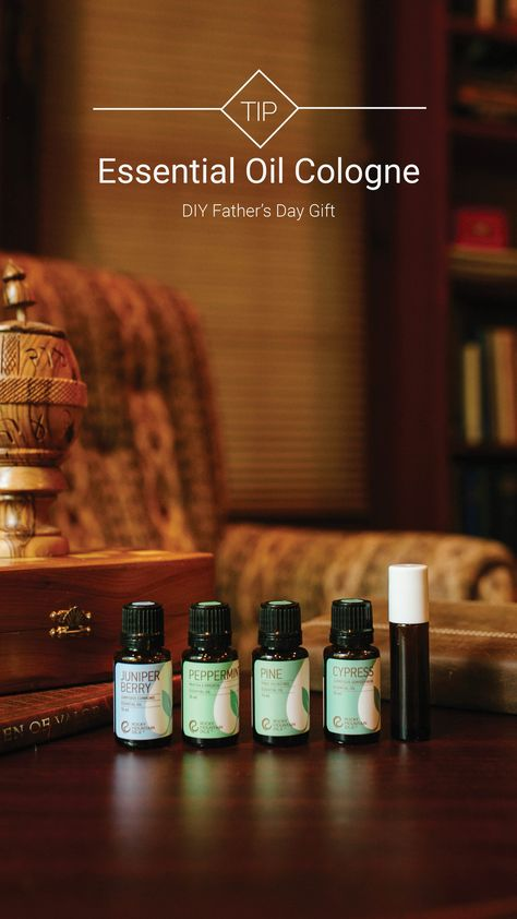 Surprise dad on Father's Day with a DIY essential oil cologne made from 100% pure essential oils that will help him feel and smell amazing. #wednesdaytip  What You'll Need: • 10ml Roller Bottle • 12 drops Juniper Berry • 12 drops Cypress • 12 drops Pine • 2 drops Peppermint • 2 tsp FCO  Combine all ingredients in a roller bottle, and apply to the wrists, neck, and behind the ears for a forest-fresh scent anytime he needs.   #rockymountainoils #oils #essentialoils #oildiy #diy #giftidea #diygift