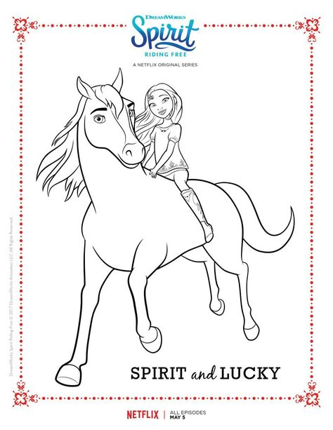spirit riding free spirit and lucky coloring page  kids