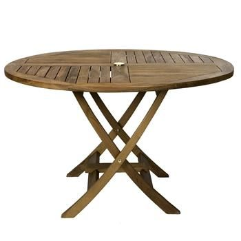 Tr48 48 Round Folding Table With Indonesian Teak Stretcher And Umbrella Hole In Light Te Round Folding Table Teak Dining Table Outdoor Dining Table