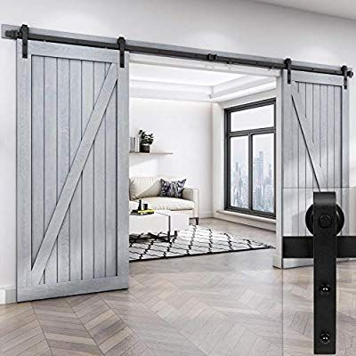 Amazon Com Easelife 12 Foot Double Sliding Barn Door Hardware Track Kit Heavy Duty Diy Easy Install Ultr Double Sliding Barn Doors Diy Barn Door Barn Door