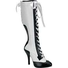 Retro Two-Tone Boots by Bordello Shoes. Exquisite two-tone Bordello knee boots with ribbon lace-up front and back. Retro Two-Tone Boots by Bordello Shoes.