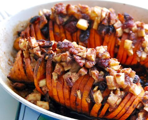 Sweet Potatoes stuffed with Apples, Cranberries, and Pecans. Perfect for Thanksgiving... YUM!