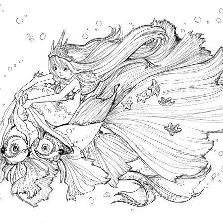 Ink Work Manga Coloring Book Mermaid Coloring Book Manga Mermaid