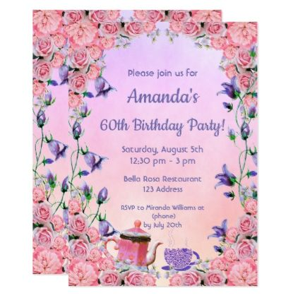 Th Birthday Tea Party Invitation Pink Violet  Tea Party