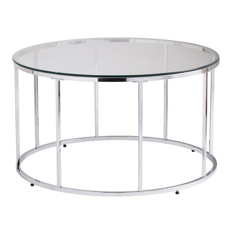 Southern Enterprises Selma Chrome Glass Top Round Cocktail Table Grey Round Glass Coffee Table Glass Top Coffee Table Cocktail Tables