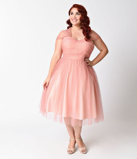 bc499f281b5 Plus Size Retro 1950s Dresses Rose Pink Prom Party Cocktail Tea Length Dress