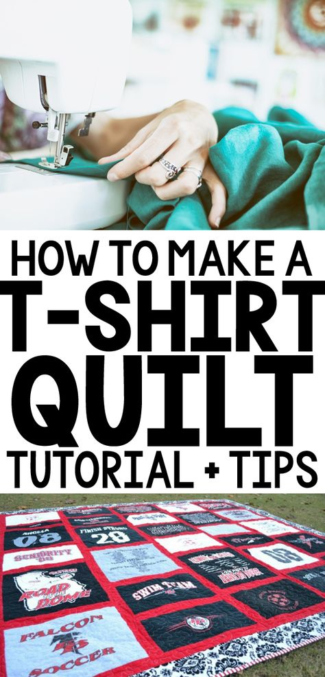 Making a t-shirt quilt for the first time can be daunting + overwhelming! Check out all the steps for how to make a t-shirt quilt in this detailed tutorial! Quilting Tips, Quilting Tutorials, Quilting Projects, Quilting Designs, Embroidery Designs, Sewing Projects, Beginning Quilting, Making Shirts, Fabric Yarn