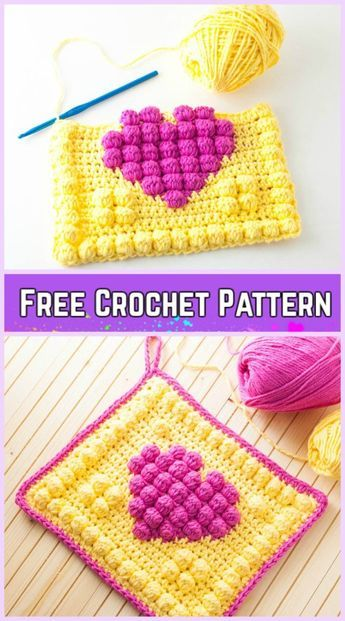 Crochet Bobble Heart Granny Square Free Patterns | Crochet