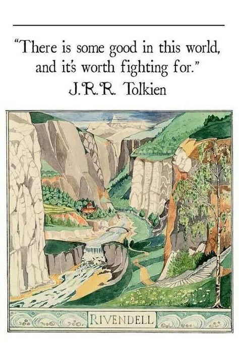 "Tonight in my class on ""The Hobbit: J. Tolkien's Mythic Sources,"" we meet the elves. This painting by Tolkien himself is from second English printing of The Hobbit & first American edition Jrr Tolkien, Tolkien Quotes, Hobbit Quotes, Tolkien Tattoo, Tolkien Books, Gandalf, Legolas, Citations Tolkien, Jm Barrie"
