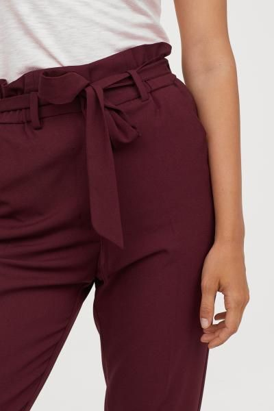 Pantalon Paper Bag Burdeos Mujer H M Es Pantalones Chinos Mujer Pantalones De Vestir Pantalones Estampados Outfits