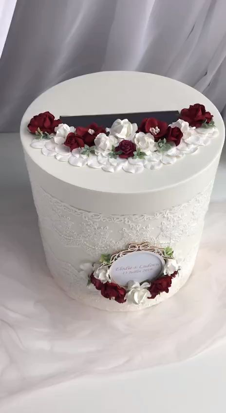 Card Box For Wedding Burgundy and Ivory Reception Card Holder Wedding Box Personalized Wishing Well Box Wedding Money Box Card Post Box 1pcs  Match Unity Candle Set and Holders:  https://www.etsy.com/listing/663363977/unity-candle-set-burgundy-and-blush  Match ring box: