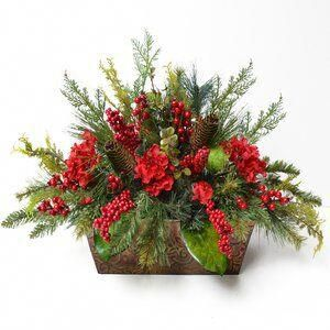 The Holiday Aisle Christmas Mixed Floral Arrangement In Planter Christmas Floral Arrangements Christmas Floral Christmas Arrangements