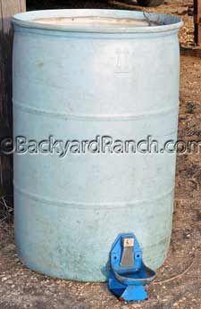 Homemade hog waterer made out of a 50 gallon barrel.