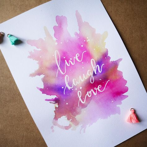 Live, laugh, love ❤️ #calligraphie #morningcalligraphy #calligraphy #watercolor #aquarelle #livelaughlove #happy #happywednesday #color…