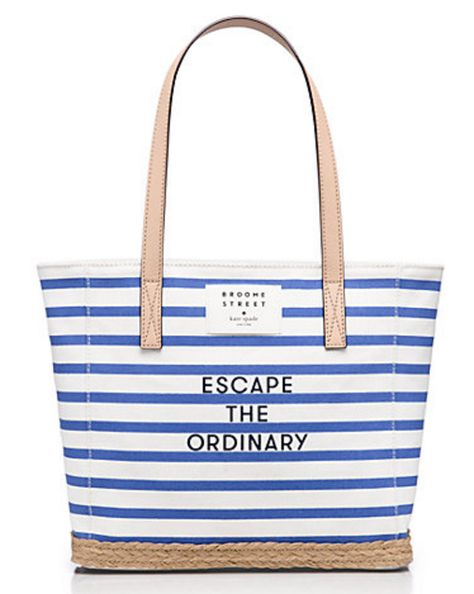 kate spade striped canvas beach tote