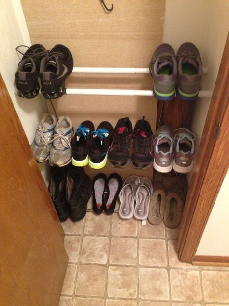 Tension Rods Can Be Used To Create Shoe Storage In A Tiny Closet   19 Dorm  Organization Hacks For Survival In A Tiny Room   Camping Shoes   Pinterest    Dorm ...