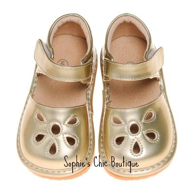 the latest 3786b be9dc Gold Flower Toe Squeaky Shoe-Gold Flower Toe Sandal Squeaky ...