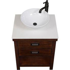 Style Selections Cromlee Bark Vessel Single Sink Poplar Bathroom