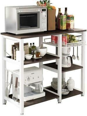 4 Tiers Kitchen Unit Storage Bakers Rack Microwave Oven Shelf with Basket Floor Freestanding for Home Office Utility Organizer Stand Workstation Wood Finish Metal Frame for Small Dinette