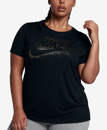 Image 1 Of Nike Plus Size Sportswear Essential Metallic T Shirt Plus Size Sportswear Gold T Shirts Womens Shirts