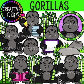 This Set Is Full Of Friendly Hairy Gorillas In The Wild And At School 23 Total Images 12 Vibrant Colored Imag Creative Clips Clipart Clip Art Animal Clipart