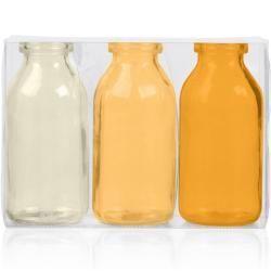 3er Pack Flaschenvasen BOTTLE H 5cm gelb orange Glas Sandra Rich 10cm D