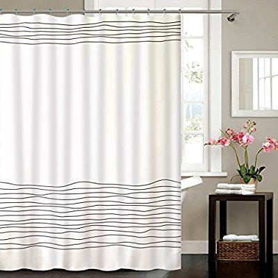 Amazon Com Buzio Line Pattern Shower Curtain With 12 Curtain