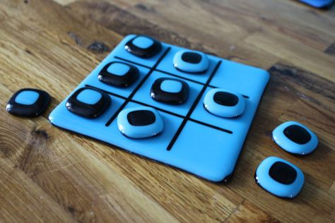 OOAK Fused Glass Tic-Tac-Toe board