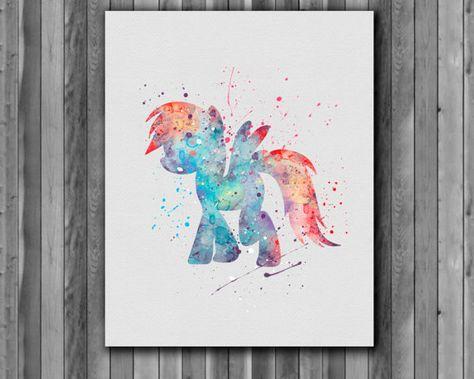Poney Rainbow Dash, affiche de My Little Pony - Art Print, téléchargement immédiat, aquarelle Print, affiche