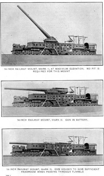 British 14inch Railway gun. Originally built to arm the Japanese Battleship Yamashiro they were never delivered and were converted into Rail Artillery near the close of WWI in 1918.: