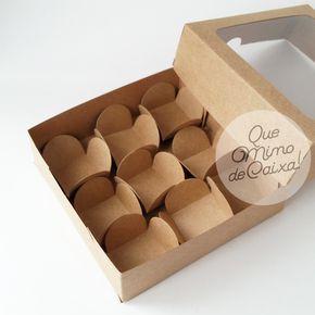20 Caixa Kraft Com Visor Para 9 Doces 14x14x4 Cm Com Nota No Elo7 Que Mimo De Caixa F07486 Caja De Postres Cajas Para Tortas Cajas Para Cupcakes
