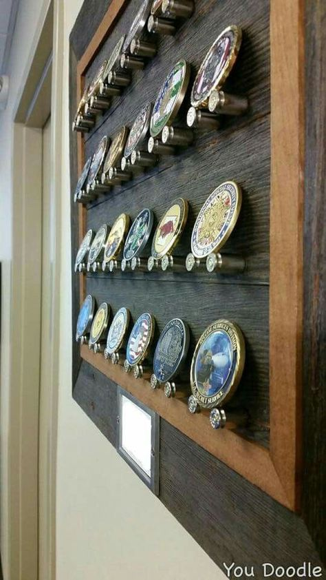 Coin Display - possible DIY (:Tap The LINK NOW:) We provide the best essential unique equipment and gear for active duty American patriotic military branches, well strategic selected.We love tactical American gear Challenge Coin Holder, Challenge Coins, Challenge Coin Display Case, Belt Buckle Display, Belt Buckles, Military Shadow Box, Coin Holder Military, Wood Projects, Woodworking Projects
