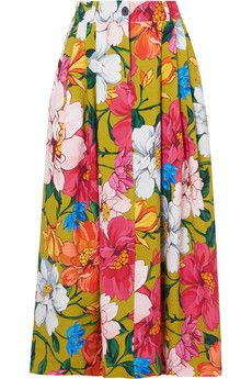 23032e6ac Mara Hoffman - Tulay pleated floral-print Tencel and linen-blend maxi skirt