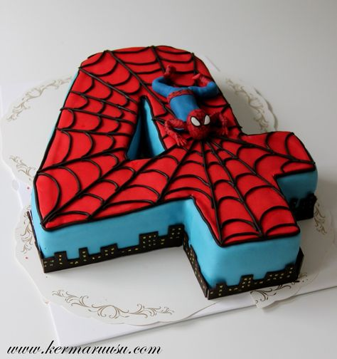 Spiderman Birthday Cake Images, Pictures Ideas For Celebration: Beautiful and best Happy Birthday Spiderman cake bday pics, photos for cutting celebration are Spiderman Birthday Cake, 4th Birthday Cakes, Superhero Cake, Fourth Birthday, Superhero Birthday Party, 4th Birthday Parties, Birthday Fun, Spiderman 4