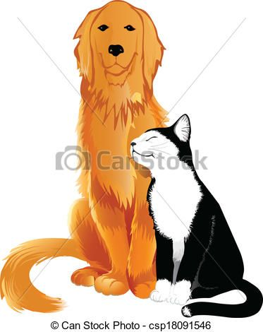 Eps Vector Of Cat Dog Friendly Golden Retriever And Black N