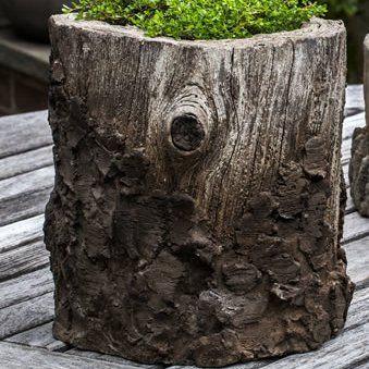 Campania International Faux Bois Cast Stone Pot Planter Planter