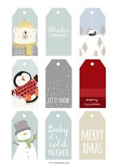 Two new FREE Christmas printables, a set of gift tags and a 2017 A4 polar bear print to go along with all the free printables from last year!