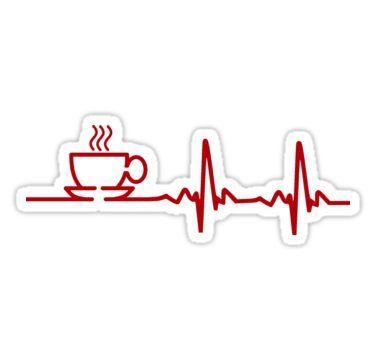 Morning Coffee Heartbeat Ekg Sticker By Theshirtyurt In A Heartbeat Coffee Stickers Greeting Card Artist
