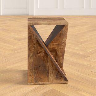 Batchelor Solid Wood Floor Shelf End Table Solid Wood Flooring Contemporary Wood Console End Tables