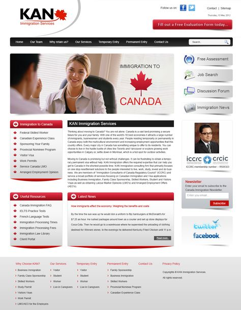 I have created this template for canadian immigration website and ...