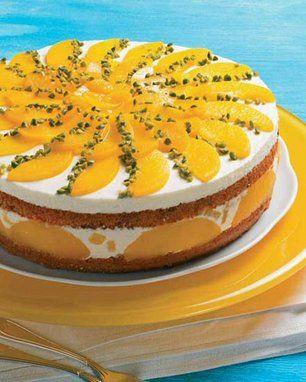 Sonnige Pfirsichtorte Rezept Pfirsich Torte Lebensmittel Essen Sussgeback