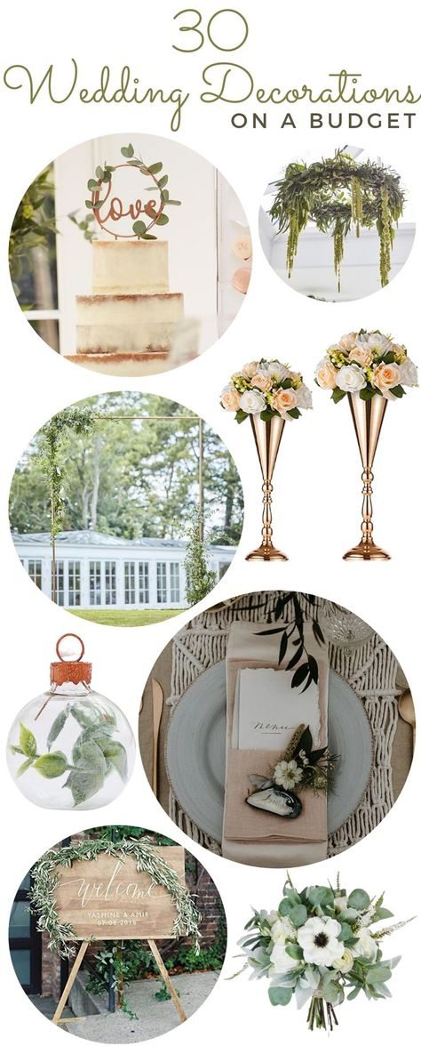 Create the wedding of your dreams while saving money with our selection of the prettiest wedding decorations on a budget. Whatever your color schemes or budget, this list of elegant wedding decorations is perfect for your wedding. Discover how to tie the knot in style with our selection of the prettiest wedding decorations. #weddingcenterpieces #weddingflowerarrangements #weddingballoons #weddingsigns #weddingfavors #backyardwedding #budgetwedding #weddingbackdrop #greenerywedding #bohowedding