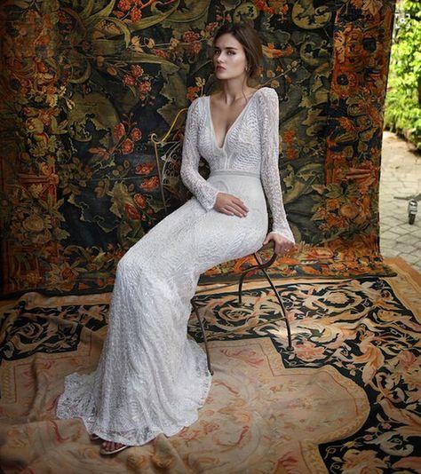 2a63f6be02 Romantic Bohemian Lace Backless Wedding Dresses V neck Long Sleeves Garden Beach  Bridal Gowns Fairy Sweep Train 1970s Hippie Boho Wedding