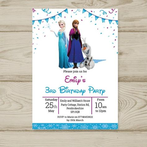 Personalised Frozen Olaf Birthday Party invitations x 10