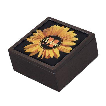 Monogram Elegant Yellow Gerbera Daisy Aster Flower Gift Box Zazzle Com Aster Flower Gerbera Monogram