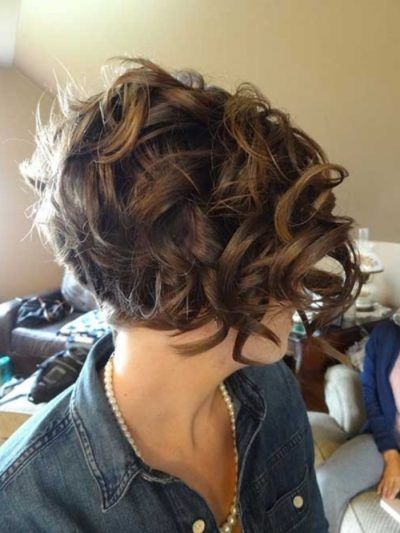 Curly Inverted Bob Back View Pertaining In 2019 Short